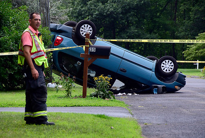 8/1/2018 Mike Orazzi | Staff A one-car rollover on Bonnie Drive in Farmington Wednesday afternoon. The driver was transported from the scene by ambulance.