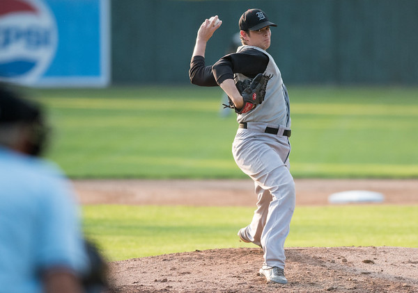 08/16/18 Wesley Bunnell | Staff The Bristol Knights vs the Cromwell Orioles in a Twilight League Baseball elimination game on Thursday night at Muzzy Field. Starting pitcher Chris McGrath (24).