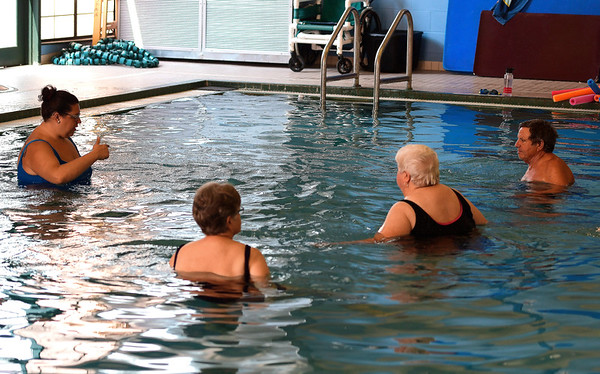 8/16/2018 Mike Orazzi | Staff Aquatics instructor Alycia Williams leads a class at the Plainville YMCA Thursday morning.