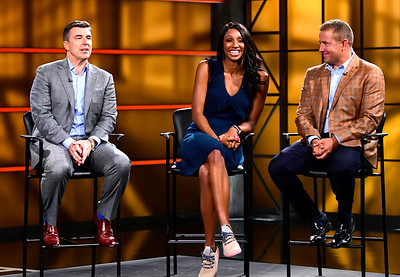 8/17/2018 Mike Orazzi | Staff ESPN's Rece Davis, Maria Taylor and Kirk Herbstreit answer questions during media day in Bristol Friday.