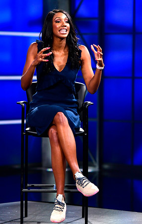 8/17/2018 Mike Orazzi | Staff ESPN's Maria Taylor answer questions during media day in Bristol Friday.