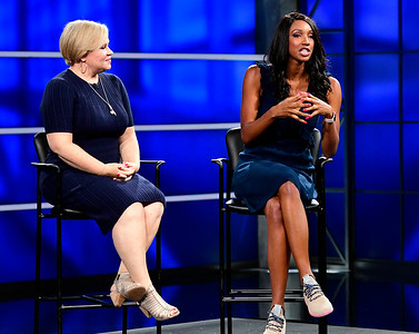 8/17/2018 Mike Orazzi | Staff ESPN's Holly Rowe and Maria Taylor answer questions during media day in Bristol Friday.