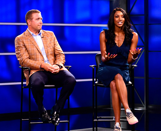 8/17/2018 Mike Orazzi | Staff ESPN's Kirk Herbstreit and Maria Taylor answer questions during media day in Bristol Friday.