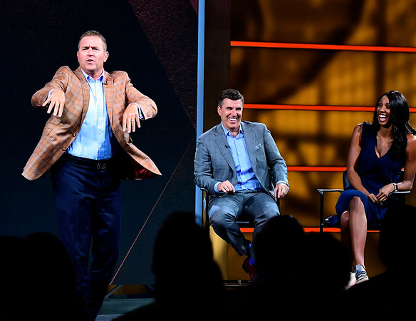 8/17/2018 Mike Orazzi | Staff ESPN's Kirk Herbstreit, Rece Davis and Maria Taylor answer questions during media day in Bristol Friday.