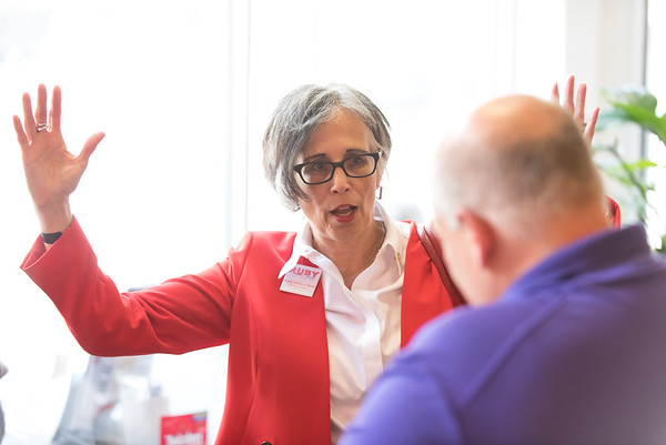 08/02/18 Wesley Bunnell   Staff Ruby Corby O'Neill speaks with Executive Director of the New Britain Downtown District Gerry Amodio during a stop on her tour of downtown New Britain. O'Neill is running for for Congress for Connecticut's 5th district.