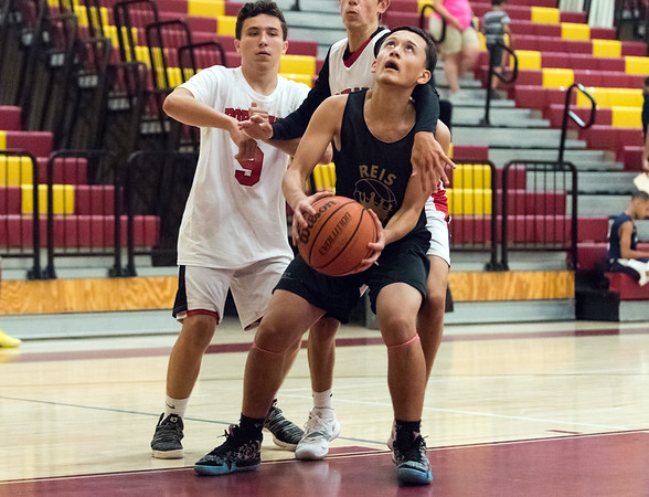 08/02/18 Wesley Bunnell   Staff REIS Academy (New Britain) defeated Portland in a Nutmeg Games 9th grade boys basketball contest on Thursday evening at New Britain High School. Fabian Negron (2).