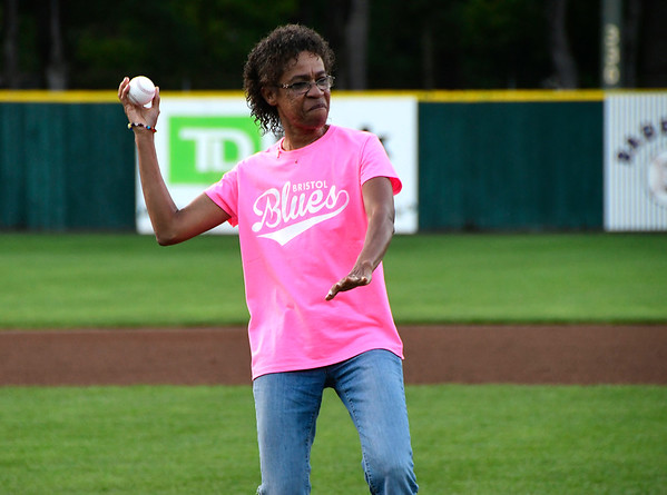 8/2/2018 Mike Orazzi | Staff Valerie Bilodeau throws out one of the first pitches at Muzzy Field during Pink Night at the Bristol Blues Thursday evening.