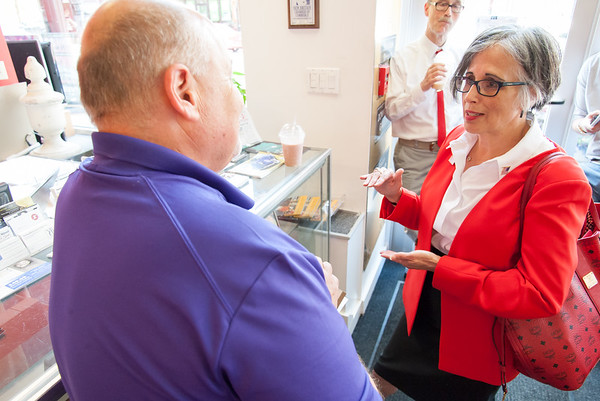 08/02/18 Wesley Bunnell | Staff Ruby Corby O'Neill speaks with Executive Director of the New Britain Downtown District Gerry Amodio during a stop on her tour of downtown New Britain. O'Neill is running for for Congress for Connecticut's 5th district.