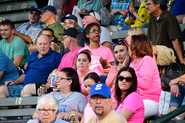 8/2/2018 Mike Orazzi | Staff Bristol Blues fan at Muzzy Field during Pink Night Thursday evening.