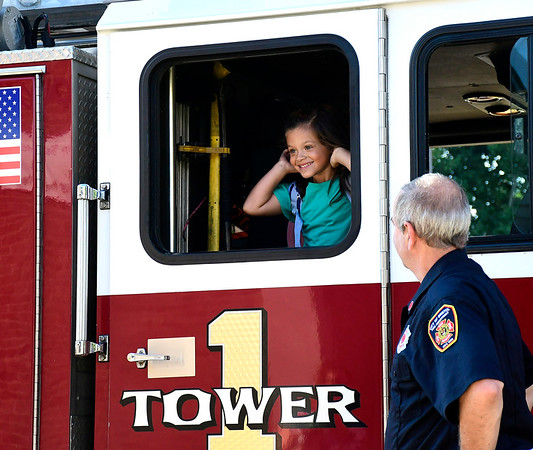 8/30/2018 Mike Orazzi | Staff Sophia Santos arrives on Bristol's Tower 1 at the Mt. View School for her first day on Thursday morning.