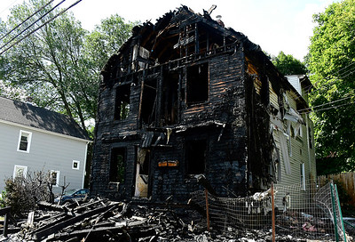 8/30/2018 Mike Orazzi | Staff The scene of a house fire on Eagle Street in the Terryville section of Plymouth Thursday.