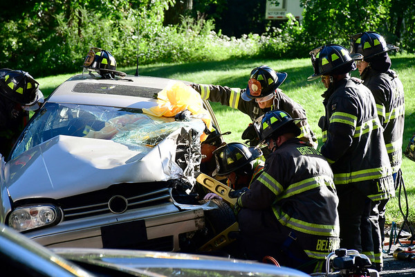 8/30/2018 Mike Orazzi | Staff The scene of a two car crash in the area of 789 Wolcott Street in Bristol Thursday afternoon, one was transported by Life Star the other to an area hospital.