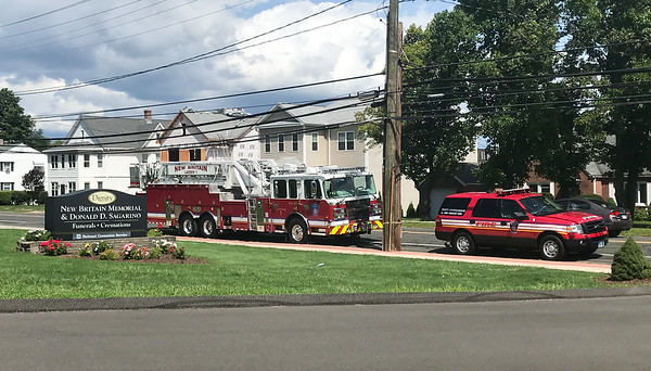 08/30/18 Submitted by Barbara M Thompson, Funeral Director/Embalmer New Britain Memorial - Sagarino Funeral Home held a free BBQ lunch for first responders on Thursday with over 70 served. New Britain Ladder One as well as a supervisor vehicle sit in front of the funeral home during the bbq.