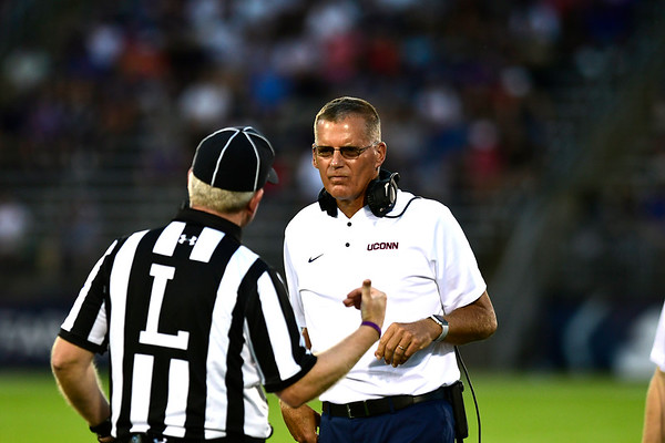8/30/2018 Mike Orazzi | Staff UConn head coach Randy Edsall during the season opening game with UCF at Rentschler Field in East Hartford Thursday night.