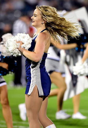 8/30/2018 Mike Orazzi | Staff UConn Dance Team members during the season opening game with UCF at Rentschler Field in East Hartford Thursday night.