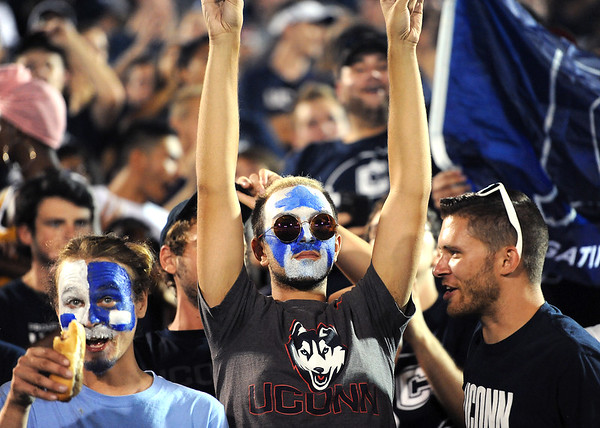 8/30/2018 Mike Orazzi | Staff UConn fans at Rentschler Field in East Hartford Thursday night.