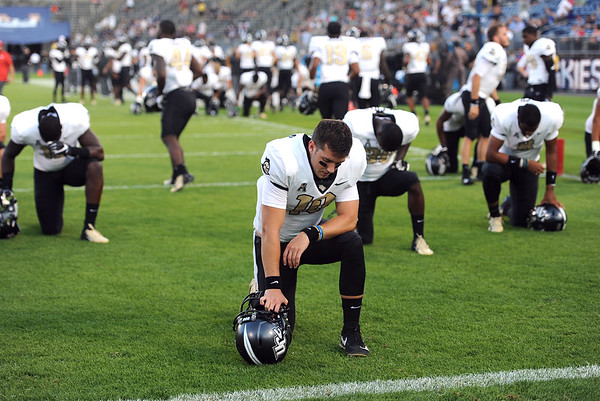 8/30/2018 Mike Orazzi | Staff UCF quarterback McKenzie Milton (10) at the season opening game with UConn at Rentschler Field in East Hartford Thursday night.