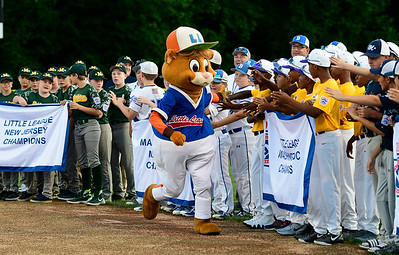 8/4/2018 Mike Orazzi | Staff Little League Mascot Dugout greets players during the opening ceremony at The A. Bartlett Giamatti Little League Leadership Training Center Saturday night.