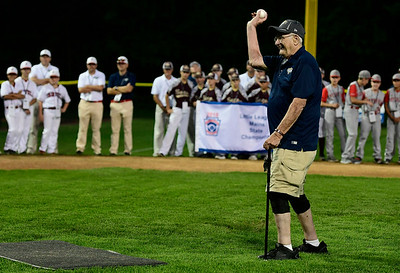 8/4/2018 Mike Orazzi | Staff Paul Dinoia throws out the first pitch during the opening ceremony at The A. Bartlett Giamatti Little League Leadership Training Center Saturday night.