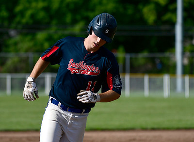 8/4/2018 Mike Orazzi | Staff Southington American Legion's Jeremy Mercier (14) at Ceppa Field in Meriden Saturday.