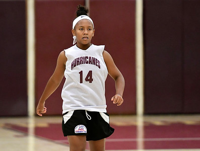 8/4/2018 Mike Orazzi | Staff New Britain's Saniya Pellegrini (14) during Nutmeg Games basketball in New Britain Saturday.