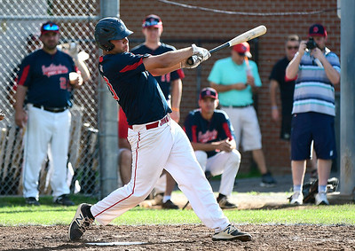 8/4/2018 Mike Orazzi | Staff Southington American Legion's Andrew Owsianko (10) at Ceppa Field in Meriden Saturday.