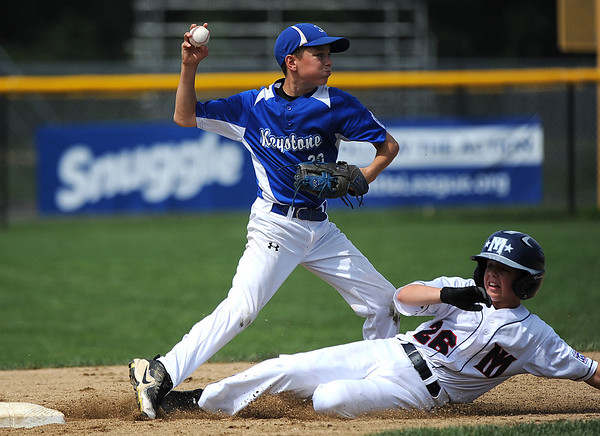 8/6/2018 Mike Orazzi | Staff' Mid Island New York's Chris Bedford slides into second as Keystone's Connor Foltz (20) gets the force out during the 2018 Little League Eastern Regional Tournament at Breen Field in Bristol Monday morning.