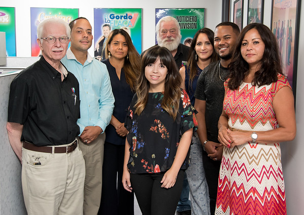 08/06/18 Wesley Bunnell | Staff The Univision Hartford Team. Master Control Operator Edward Adams, Salesperson Jorel Claudio, Salesperson Elena Soriano, Engineer Robert Smith, Sales Coordinator/Digital Meredith Gonzalez, Master Control Operator Randolph Brito, Station Manager Sulma Avenancio and Production Manager Vanessa Rivera, middle.