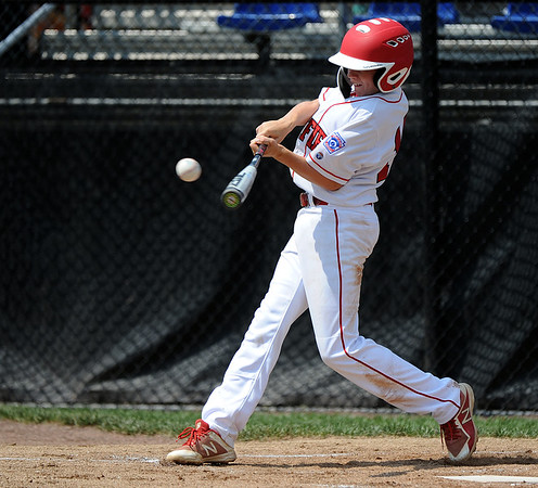 8/7/2018 Mike Orazzi | Staff Fairfield American's Robbie Donahue (13) at Breen Field in Bristol Tuesday.