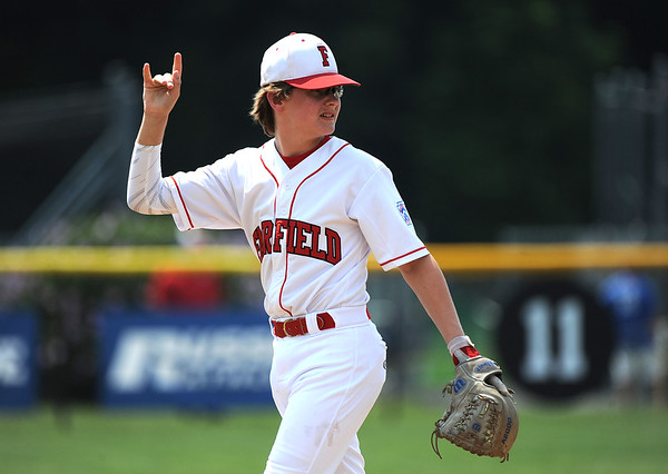 8/7/2018 Mike Orazzi | Staff Fairfield American's Pierce Cowles (8) at Breen Field in Bristol Tuesday.