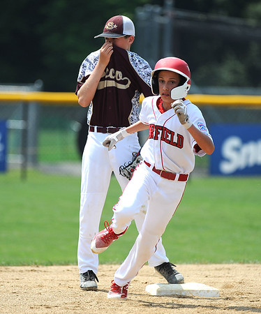 8/7/2018 Mike Orazzi | Staff Fairfield American's Eli Balkan (4) at Breen Field in Bristol Tuesday.