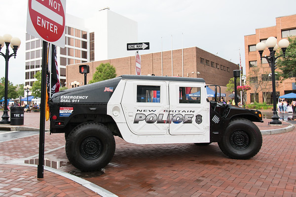 08/07/18 Wesley Bunnell | Staff New Britain Police held their annual National Night Out 2018 on Tuesday evening in a blocked off Central Park area. A New Britain Police Humvee sits near Central Park.