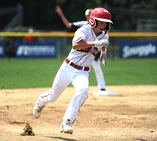 8/7/2018 Mike Orazzi | Staff Fairfield American's Jon Morris (15) at Breen Field in Bristol Tuesday.