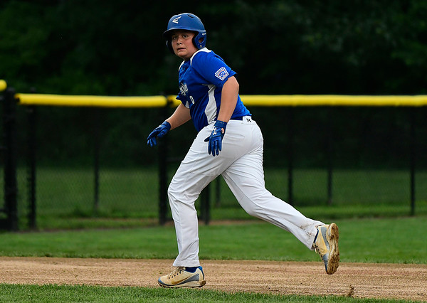 8/7/2018 Mike Orazzi | Staff Keystone Little League's Levi Schlesinger (0) at Breen Field in Bristol Tuesday evening.