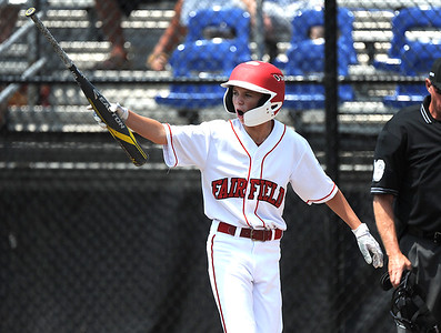 8/7/2018 Mike Orazzi   Staff Fairfield American's Jon Morris after scoring against Maine at Breen Field in Bristol Tuesday.