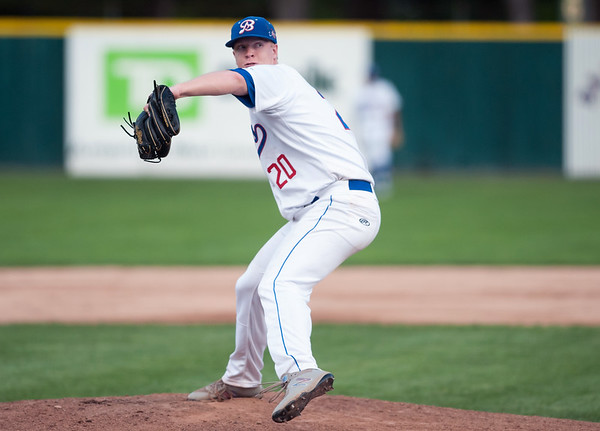 08/08/18 Wesley Bunnell | Staff Bristol Blues starting pitcher Jake Regula (20) in a FCBL semi final playoff game vs the Worcester Bravehearts on Wednesday night at Muzzy Field.