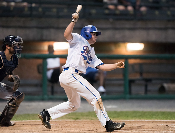08/08/18 Wesley Bunnell | Staff Bristol Blues outfielder Dylan Reynolds (35) bats in a FCBL semi final playoff game vs the Worcester Bravehearts on Wednesday night at Muzzy Field.