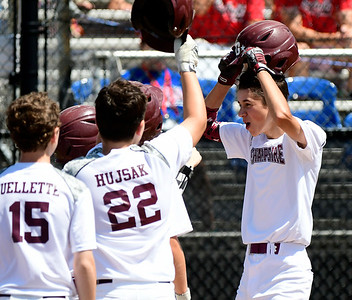 8/9/2018 Mike Orazzi | Staff New Hampshire's Ryan Strand (9) after his home run during a win over Connecticut Thursday at Breen Field in Bristol.