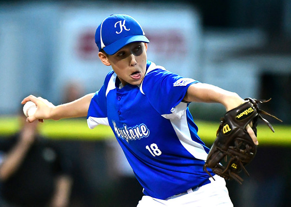 8/9/2018 Mike Orazzi | Staff Keystone Little League's Brady Myers (18) at Breen Field in Bristol during Thursday evenings 2018 Eastern Regional Little League Baseball Tournament.