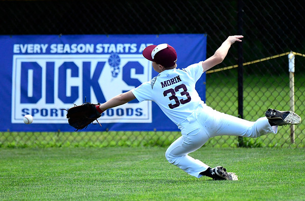 8/9/2018 Mike Orazzi | Staff Goffstown Junior Baseball Little League's Isaac Morin (33) Thursday at Breen Field in Bristol.