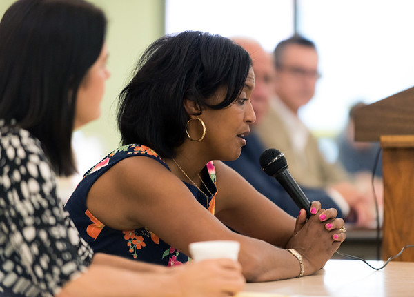 08/09/18 Wesley Bunnell | Staff The New Britain Senior Center held a Meet The Candidates Meet & Greet for candidates of Connecticut's 5th Congressional District on Thursday afternoon. Democrat Jahana Hayes answers questions as fellow candidates look on.
