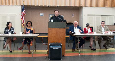 08/09/18  Wesley Bunnell | Staff  The New Britain Senior Center held a Meet The Candidates Meet & Greet for candidates of Connecticut's 5th Congressional District on Thursday afternoon.  Democrats Mary Glassman, L, Jahana Hayes, Executive Director of the New Britain Senior Center Rex Cone, Republicans Rich DuPont, Ruby Corby O'Neill and Manny Santos.