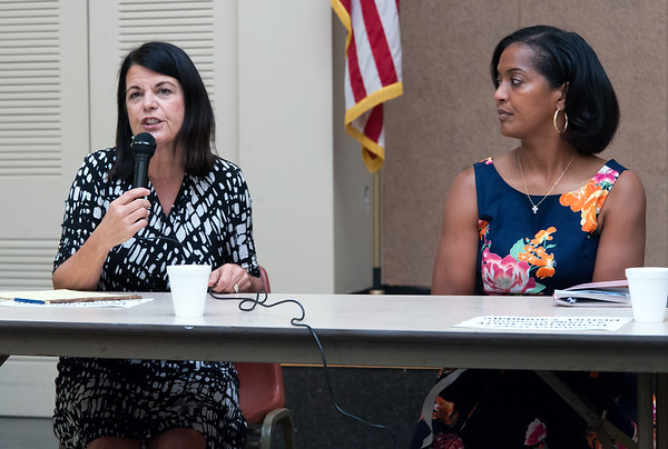 08/09/18 Wesley Bunnell | Staff The New Britain Senior Center held a Meet The Candidates Meet & Greet for candidates of Connecticut's 5th Congressional District on Thursday afternoon. Democrats Mary Glassman answers questions as Jahana Hayes looks on.