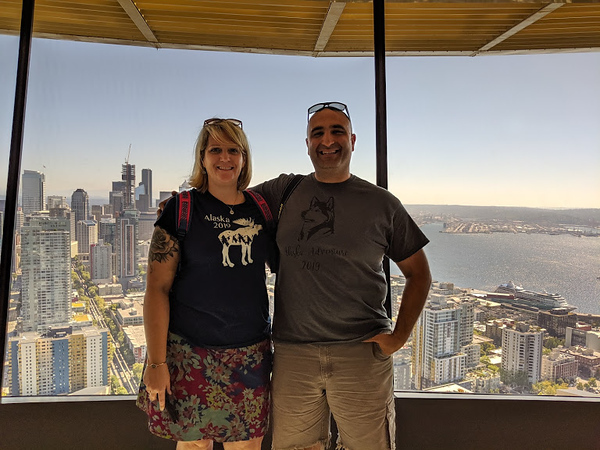 Day 2<br /> <br /> Mer and I with Seattle in the background on the lower deck of the Space Needle.