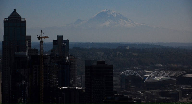 Day 2<br /> <br /> Kind of a dark picture, but I had to darken it up to bring out Mt Rainier,  hiding in plain sight.