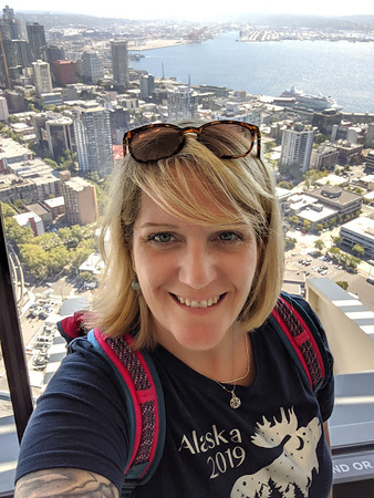 Day 2<br /> <br /> Mer's selfie on the lower deck of the Space Needle.  Tragically, her selfie stick would fall to its death not long after this.