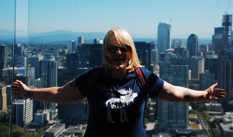 Day 2<br /> <br /> Mer on the top (open air) deck of the Space Needle.