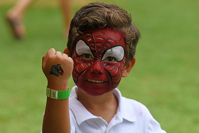 Spiderman got a tattoo on his hand at the Davidson Cornelius Child Development Center's 50th Anniversary celebration on the Town Green.