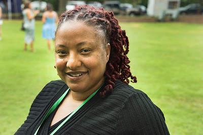 Anna Washington, executive director of the Davidson Cornelius Child Development Center, officiated at the organization's 50th anniversary celebration on the Village Green on Saturday.