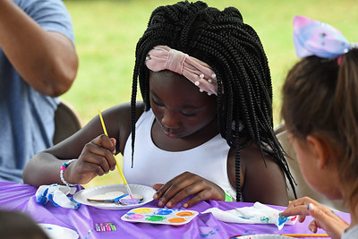 KIds got to decorate butterflies at one of the stations. . .